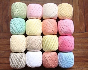 Lot 16 Balls Light Pastel Cotton Yarn size 10 Crochet Threads Knitting Clea 125