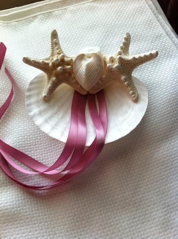 "Sea Shell Ring Bearer Pillow  ""Stars N Hearts"" Seashell Beach Destination Wedding"