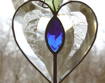 heart with blue gem.