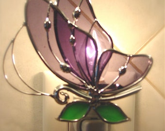 Purple butterfly night light