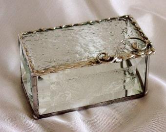 textured glass trinket box.