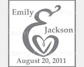 Ampersand Heart Self Inking Stamp Wedding Save the Date 1 5/8 inch
