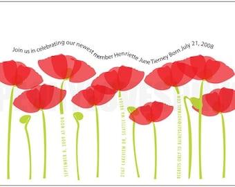 Printable Custom Poppies Invitation 5x7 You Print PDF