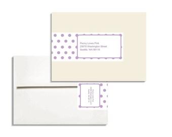 Envelope wrap address label A7 Printable Editable in Polka Dot