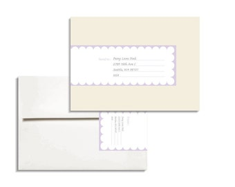 Scallop Printable Editable PDF Envelope Wrap Address Label for A7