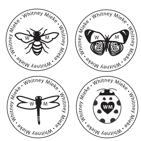 Custom Self Inking Rubber Stamp Insect 1 5/8 inch Circle