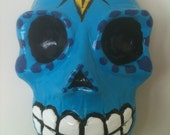 Cast Plaster Painted Blue Skull