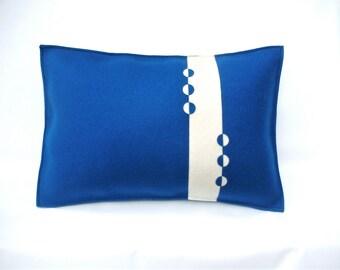Blue and White felt pillow, contemporary pillow, decorative throw pillow, peacock blue pillow, felt pillow