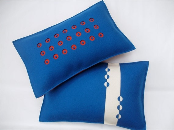 Felt Pillow in Peacock Blue with Orange 3-D Dots