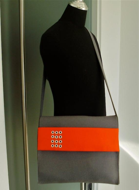 Felt Messenger Bag in Gray and Orange