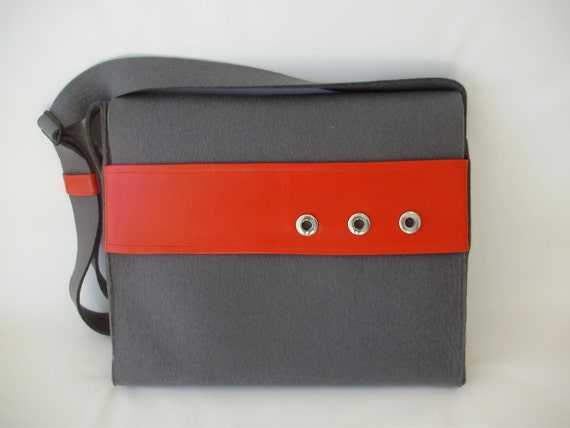 Felt Messenger Bag/Laptop Case in Gray and Red