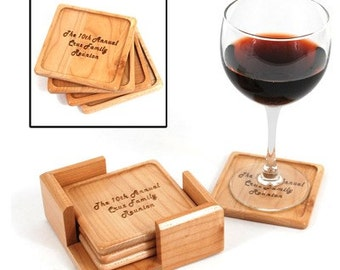 Personalized Maple Coaster Set with Storage Caddy