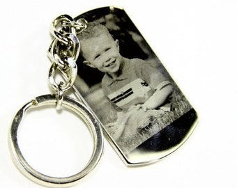 Personalized Photo Engraved Dog Tag - Father's Day Gift