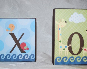 LARGE Baby Name Block Wood Letters . Jaxon . SS Noah