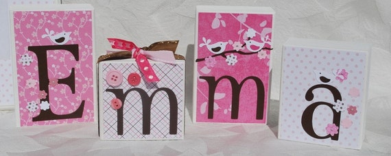 Cherry Blossom Baby Name Blocks. Emma