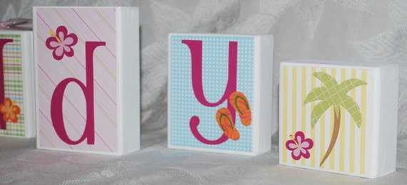 Surfer Girl Custom Baby or Childs Name Wood Block Letters with 2 Decorative Blocks . Addy