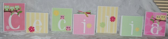 LARGE Personalized Baby Name Blocks in Yellow Pink and Green with Owls . Cecilia