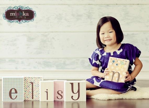 PHOTO PROP Baby Name Block Alphabet Letters . Letter Blocks . elisyn . levi . erin
