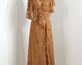 1910's Antique Vintage Edwardian Victorian Nude Chantilly-Lace Sheer Illusion-Couture Silk-Rosettes Floral-Appliques Low-Plunge Asymmetric Flutter-Sleeve Goddess Flapper-Fairy Boudoir Trained Full-Length Evening Dress Coat Jacket