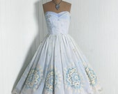 1950's Vintage Light Baby-Blue and Ivory Flocked-Floral Garden Botanical Chiffon-Couture Sweetheart Low-Plunge Strapless Nipped-Waist Rockabilly Ballerina-Cupcake Princess Full Circle-Skirt Bombshell Formal Wedding Cocktail Prom Party Dress
