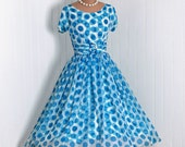 1950's Vintage Polka-Dot Print Turquoise-Blue White Chiffon-Couture Bombshell Short-Sleeve Belted Full Circle-Skirt Rockabilly Party Dress