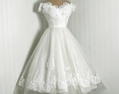 1950's Vintage Priscilla of Boston Designer-Couture White Chantilly-Lace & Tulle Rhinestone Sheer-Illusion Full Circle-Skirt Wedding Dress