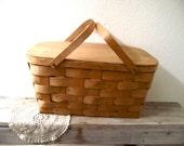 Vintage Basket - Vintage Picnic Basket - Handmade Vintage Basket