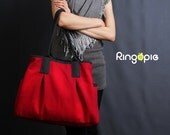 Sale20%OFF-Ready To Ship-Red and Dark Grey Piping Canvas Tote/shoulder bag/handbag/school bag/laptop bag/casual bag/purse/women/For Her-022