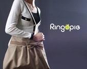 Sale 20%OFF-Khaki Bow Pleated Bag with adjustable strap/tote/messenger/shoulder bag/purse/handbag/school bag/For Her-043- Ready To Ship