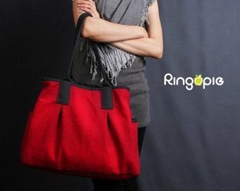 Sale25%OFF-Ready To Ship-Red and Dark Grey Piping Canvas Tote/shoulder bag/handbag/school bag/laptop bag/casual bag/purse/women/For Her-022