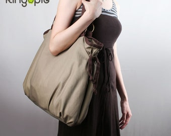Sale 20%OFF-Ready To Ship-Ringopie Everyday Canvas Tote(Khaki)/shoulder bag/school bag/handbag/Purse/Diaper bag/Tote/Casual bag/For Her-049