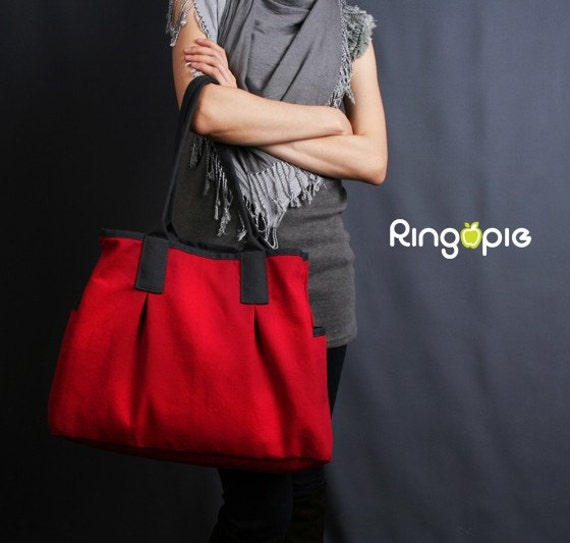 Sale20%OFF-Ready To Ship-Red and Dark Grey Piping Canvas Tote/shoulder bag/handbags/school bag/laptop bag/casual bag/purse/women/For Her-022