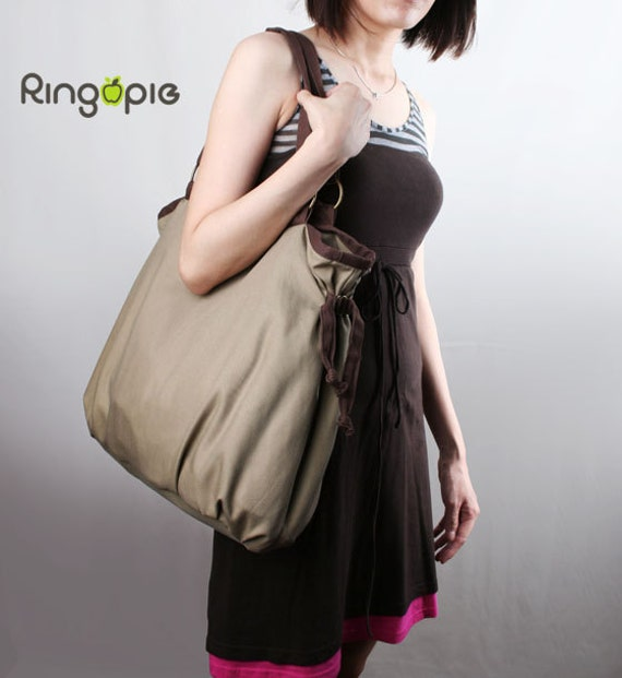 Sale 20%OFF-Ready To Ship-Ringopie Everyday Canvas Tote(Khaki)/shoulder/bags/school/laptop/handbags/Purse/Diaper/Totes/Casual/For Her-049