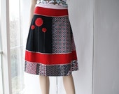 NEW - Spring 2010 - knit cotton skirt in black, red and white