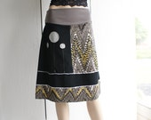 Sale - A-line jersey skirt in light taupe, black and grey by Thongbai Tatong - LAST ONE