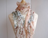 FREE SHIPPING - Silk scarf with ruffles
