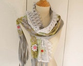 SALE - Christmas in July - Elfje - a textile collage scarf