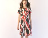 SALE, 1960s dress, mod dress, a-line dress, in black, white and red knit fabric handmade by ThongbaiTatong