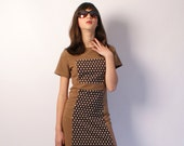 SALE, Retro dress, mod dress, 60s in two shades of brown and white polka dots, a-line, 1960s autumn Size XS