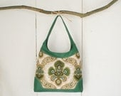 Leather bag, leather purse, Dutch vintage fabric, upcycled fabric for environmental friendly  in green color