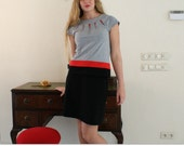 Mod dress, 1960s dress, set of top and skirt, jersey fabric is grey, red and black, cap sleeves, knee length 60s inspired