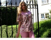 Cotton blouse, cottage chic summer fashion in dusty pink and floral print, handmade by ThongbaiTatong