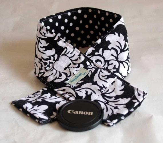 DSLR Camera Strap Cover, Padding, Lens Cap Pocket -Dandy Damask Black and Dinky Dot