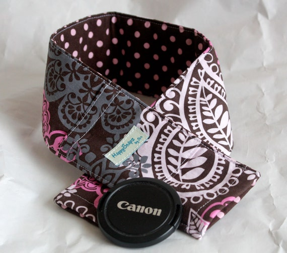 Camera Strap Cover with Padding and Lens Cap Pocket - Frieda Frill and Dumb Dot