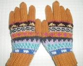 Childrens Fairisle Hand-knitted Hat'n'Gloves