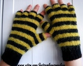 Bumble bee Mohair Arm Warmers - Fingerless Gloves for Adults - UK