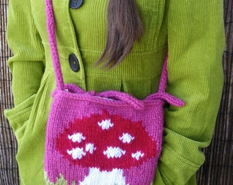Mushroom in a Field - wool knit hip small bag - lined with 'Oilily' Fabric/Material