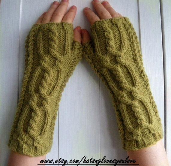 Antique Gold Fingerless Gloves - Pure Wool Knit Arm Warmers for Adults - UK