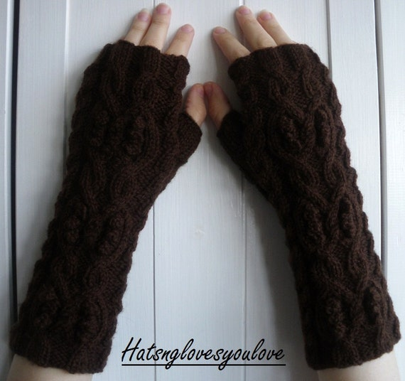 Chocolate Brown Cable Knit  Arm Warmers Fingerless Gloves - Pure Wool - Adult UK
