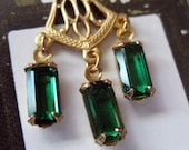 2 x Pretty Filigree Dangles With Vintage Swarovski Octagons in Emerald Green